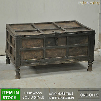 Antique style handmade solid wood blanket box storage chest coffee table trunk
