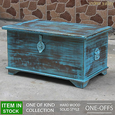 Vintage French style timber blue blanket box storage trunk coffee table chest