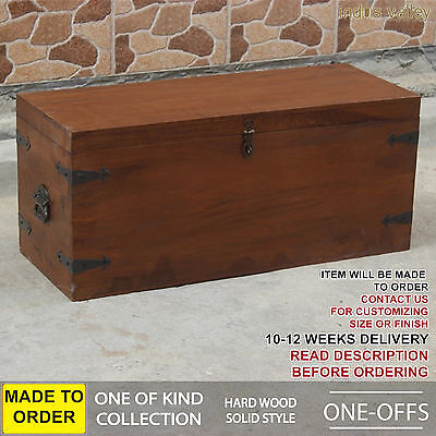 MADE TO ORDER Antique wooden Moroccan blanket box trunk coffee table chest