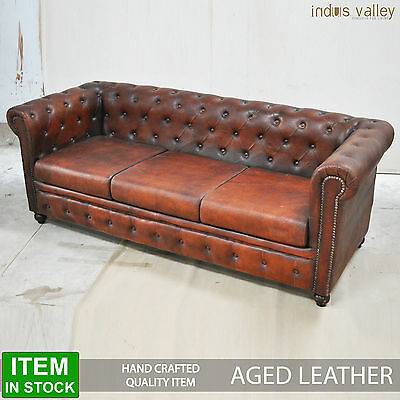 NEW CHESTERFIELD Aged Leather Brown Lounge 3 3.5 seater sofa large couch vintage