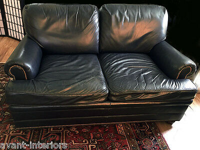 Vintage Hancock and Moore Forest Green Leather RH Style Sofa Settee Loveseat