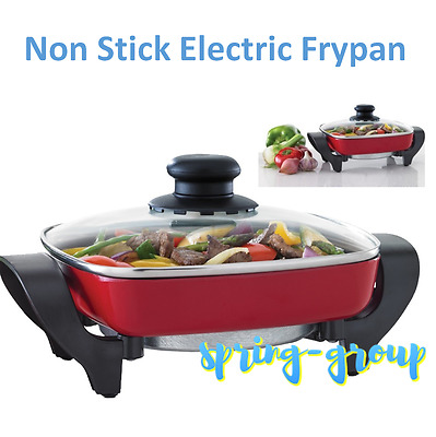 Maxim Small Electric Frypan with Glass Lid Home Office Caravan Meal Cooker Pan