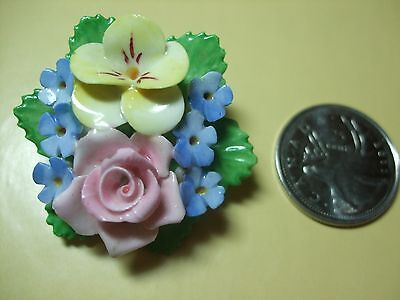 """Denton China"" Vintage Collectible Brooch Ceramic Flower Made in ENGLAND Signed"