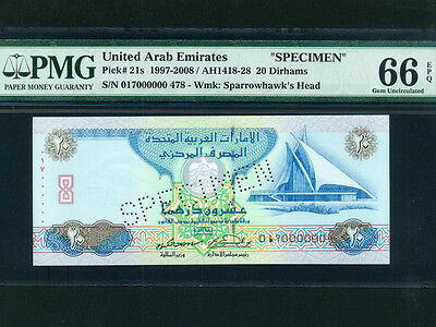United Arab Emirates (UAE):P-21a,20 Dirhams,1997* SPECIMEN * PMG Gem UNC 66 EPQ