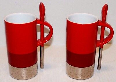 1 Lot 2 STARBUCKS Coffee Cup Mugs w/ Spoons Red,White,Brown & Silver  2008
