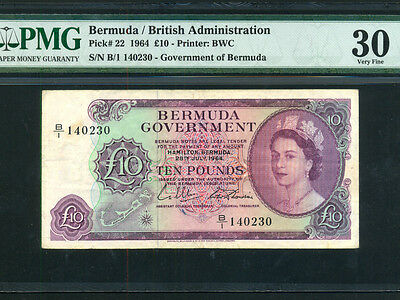 Bermuda:P-22,10 Pounds,1964 * Queen Elizabeth II * PMG VF 30 *