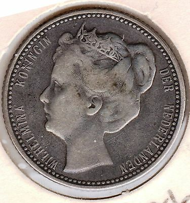 1905 Netherlands 25 Cents  Silver