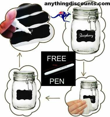 200  Blackboard Chalk  Label  Stickers. & 1  FREE  PEN    Australia pantry.jars
