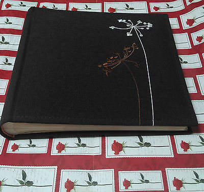 Vintage photo album brown fabric with flowers holds 200 photos never used