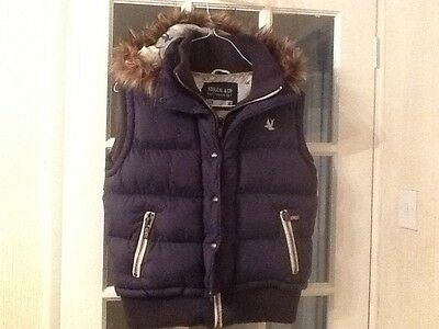Navy Blue Body Warmer By Soulcal &co  Size 16 Ladies With Zip Off Hood ,