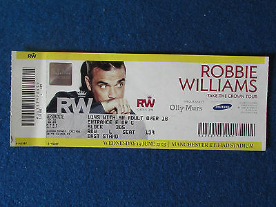 Robbie Williams - Take The Crown Concert Tour Ticket - 19/6/2013 - Manchester