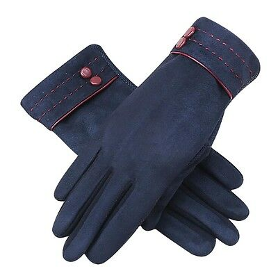 Suede Gloves Full Finger Women Motorcycle Driving Warm Touch Screen Protection