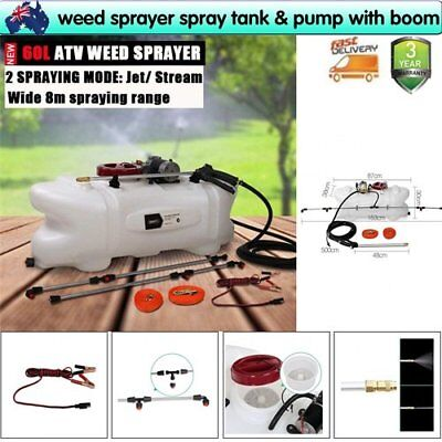 New 60 Litre Atv Weed Sprayer Spray Tank & Pump With Boom 12V Garden Farm Home