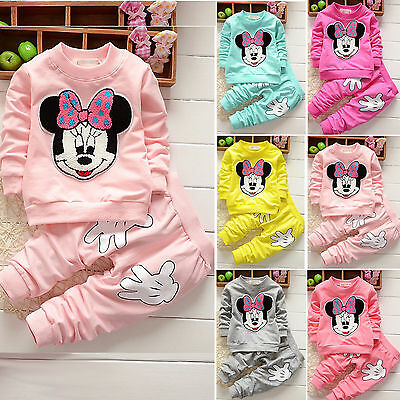 Baby Boys Girls Minnie Mouse Hoodie Jumper Tops + Pants Outfits Kids Clothes Set