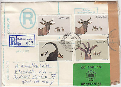 Y6078 Kalkfeld SWA (Namibia) reg cover to Berlin 55c rate. 8-Jun-1981