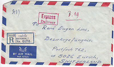 Y6083 Thai air cover to Switzerland 17b Reg Bangkok 2 express delivery 1975