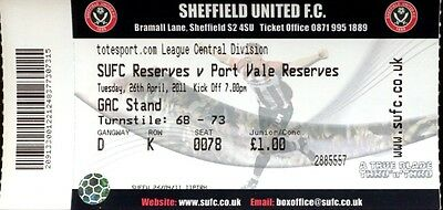Sheffield United v Port Vale 26/04/11 Reserves