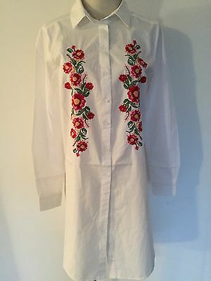New Innocence Womens White Floral Embroided Cotton Shirt Dress Size Uk 12 Bnwt