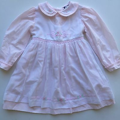 BEAUTIFUL Embroidery Vintage Pink and White Toddler Girls Dress Size 24m
