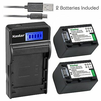NP-FV70 Battery&LCD Slim Charger for Sony HDR-CX260V CX290 CX300 CX305 CX330
