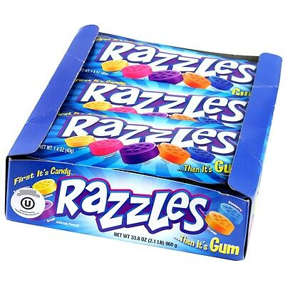 903146 BOX OF 24 x 40g PACKETS OF RAZZLES FIRST IT'S CANDY... THEN IT'S GUM USA