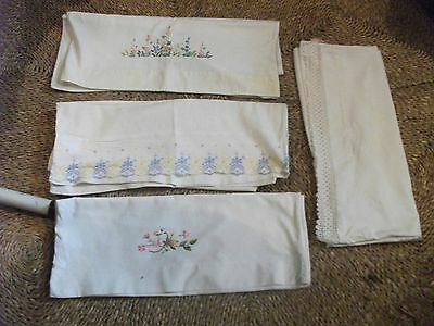 """four assorted embroidered vintage cotton pillow cases = one lace edged- 29 x 18"""""""