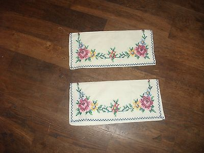 "Pair of dainty crossstitch embroidered vintage handkerchief cases 10"" x 5"""