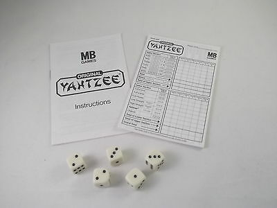 Mb Games Yahtzee -  Set Of 5 Dice Instruction Leaflet & 15 Score Sheets - Spares