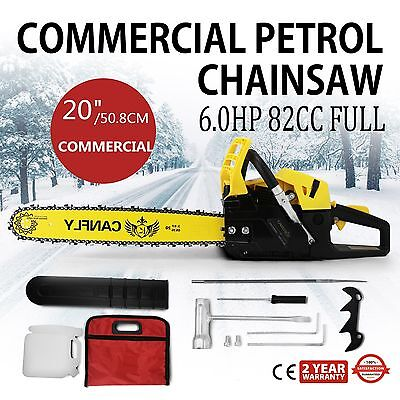 "NEW 82cc Commercial Chainsaw e-Start 20"" Bar Petrol Saw Pruning and OREGON Chain"