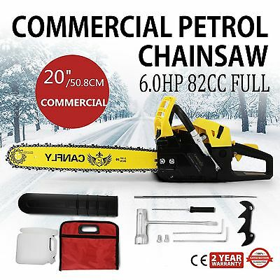 "NEW 82cc Commercial Chainsaw e-Start 24"" Bar Petrol Saw Pruning and OREGON Chain"
