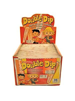 900871 BOX OF 36 x 19g PACKETS OF DOUBLE DIP ORANGE & CHERRY FLAVOUR FIZZ DIPS
