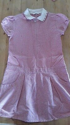 M & S girls red gingham school dress age 9