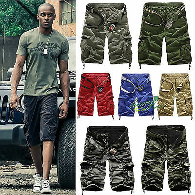 AU Mens Military Army Combat Middle Pants Pocket Tactical Work Camo Cargo Shorts
