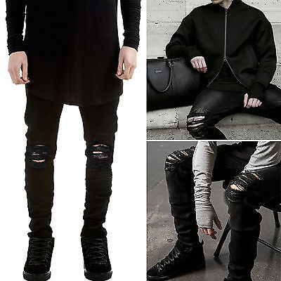 New Mens Straight Leg Ripped Biker Jeans Slim Casual Denim Pants Skinny Trousers