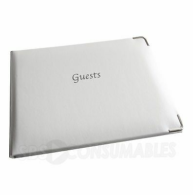 Esposti White & Silver Foiled Occasion/Wedding/Party Guest Book Soft Touch Cover