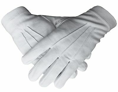 Mens Plain 100% Cotton White Masonic Gloves
