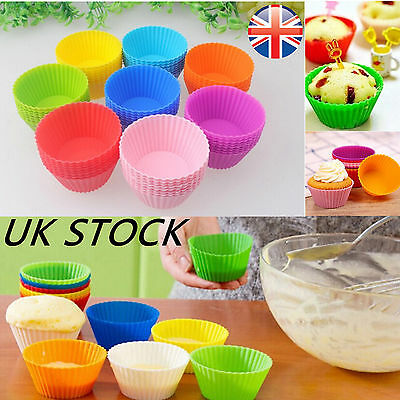 12 Pcs Silicone Round Cup Cake Muffin Cupcake Cases Baking Cup UK stock