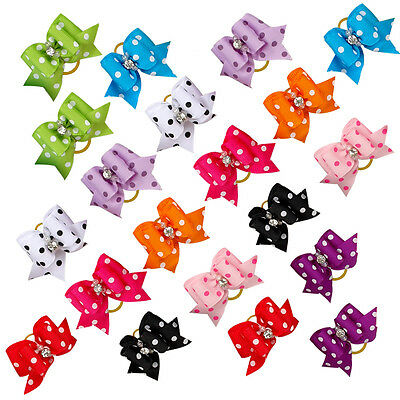 Handcraft Dots Print Pet Puppy Dog Hair Bows Grooming Accessories 100/200/500pcs