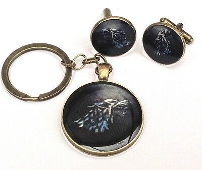 Game of Thrones handmade & painted bronze keyring & cufflinks resin dire wolf