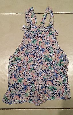 Girls Floral Cotton Overalls Size 3