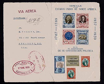 Guatemala 1938 U.S. Constitution Anniv - Airmail Souvenir Sheet on label to US