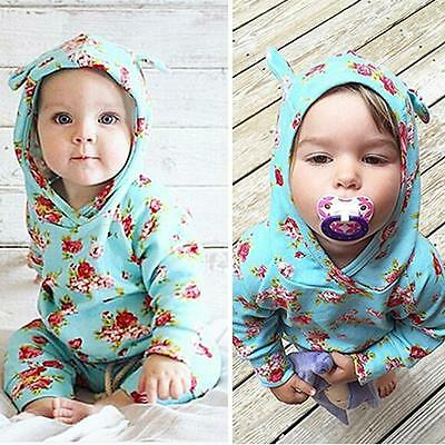 Baby Boy Girls Cotton Floral Long Sleeve Hoodie Tops Jumpsuit Pants Outfits Set