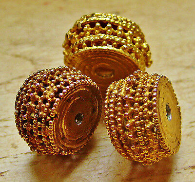 "6 Antique "" Ajoure""gold Plated Silver Beads From Tribal Yemen"