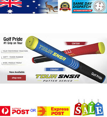 Golf Pride Tour SNSR Putter Grip Straight Blue with free grip tape - AU Stock
