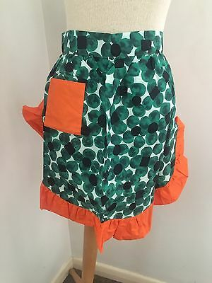 Vintage Cotton Ladies Half Kitchen Apron Hostess PInny Novelty Green Orange