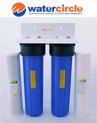 """PREMIUM HIGH QUALITY TWIN Big blue 20"""" x 4.5"""" whole house / tank water filter"""