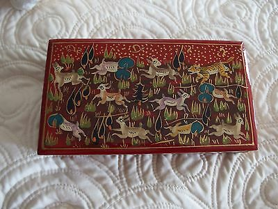 vintage hand painted Lacquered box