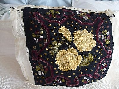 vintage antique Hand Stitched worked tapestry cushion front picture stool chair