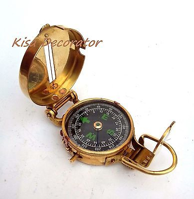 Solid Brass Nautical British Military Compass  Lensatic Pocket Compass
