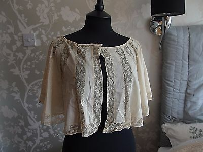 antique two part lace panel cape collar